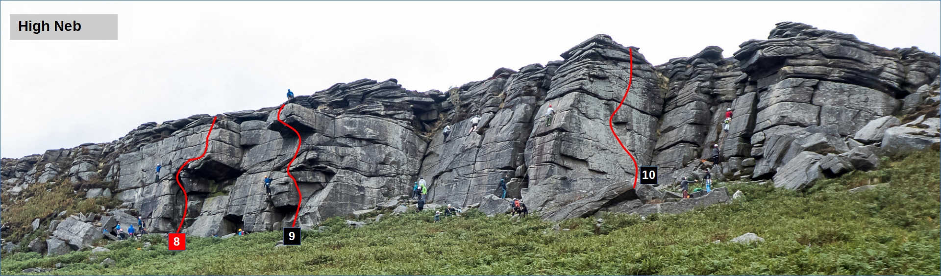 Stanage High Neb climbing topo and guide
