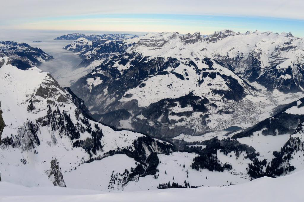 View of Engelberg from Rotsandnollen ski tour