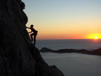 Climbing at Kalymnos Afternoon at sunset